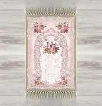 다른 핑크 꽃 장미 꽃 3d urkish 이슬람 이슬람기도 양탄자 tasseled 안티 슬립 현대기도 매트 라마단 이드 선물