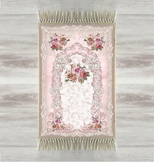 Else Pink Flowers Roses Floral 3d Urkish Islamic Muslim Prayer Rugs Tasseled Anti Slip Modern Prayer Mat Ramadan Eid Gifts