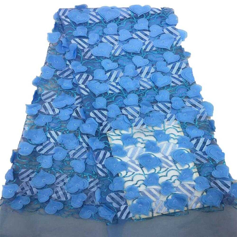 Bleu ciel africain brodé Tulle lacets 3d coeur Applique français Sequin dentelle tissu pour 5 mètres X631-5