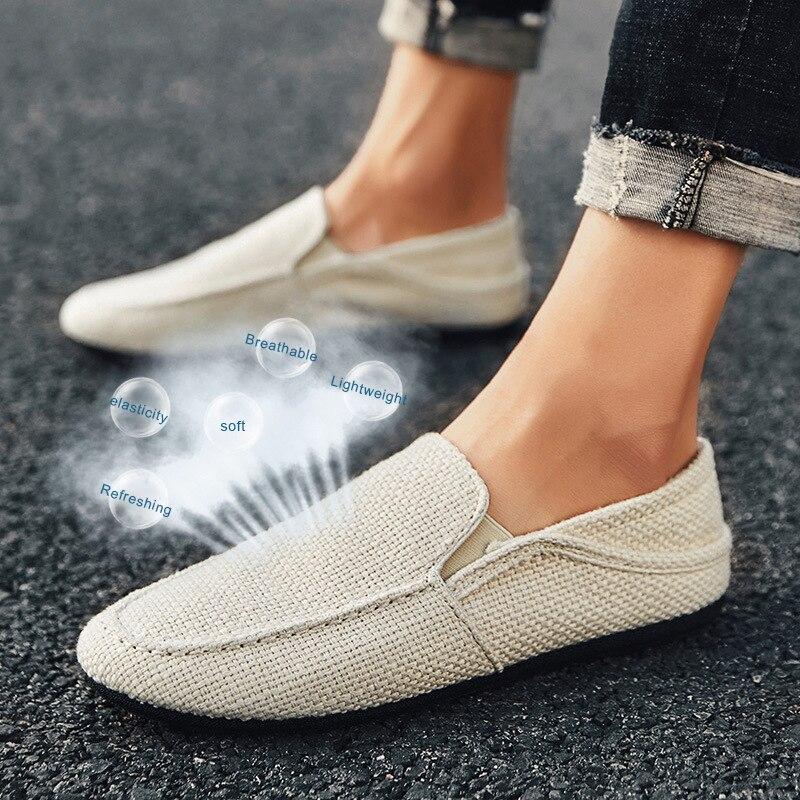 Fashion Linen Breathable Peas Shoes Men Southeast Asia Hot Sale Models Light Men Casual Shoes Driving Lazy Men Shoes Wholesale
