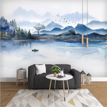 New ink landscape background wall professional production mural factory wholesale wallpaper mural poster photo wall romantic mediterranean style background wall professional production mural wholesale wallpaper mural poster photo wall