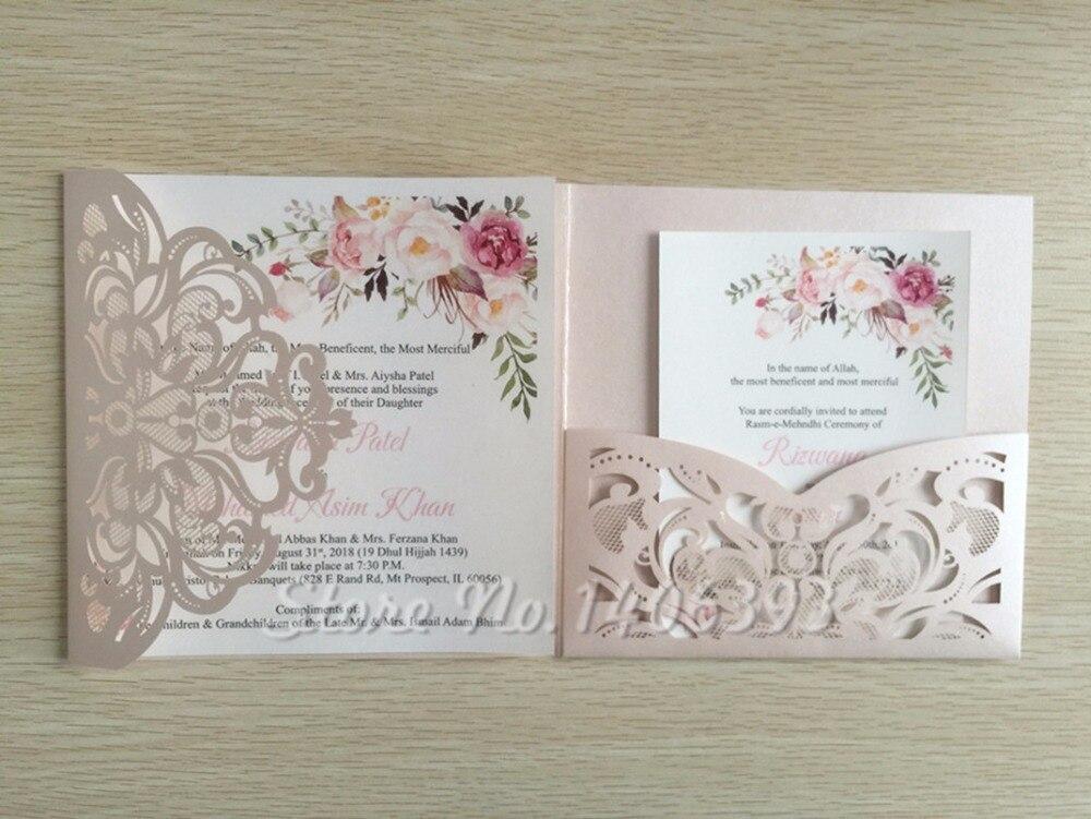 50pcs Laser Cut Square Flowers Tri fold Customized Paper set