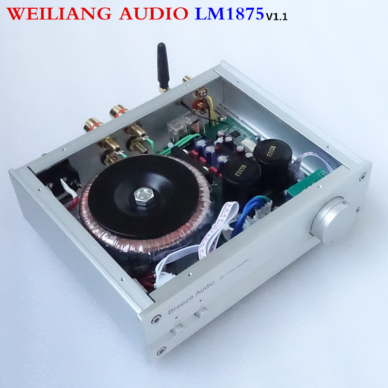 weiliang audio&breeze audio LM1875 30W*2 hifi bluetooth power amplifier power supply 80W 110/220v audio amplifier