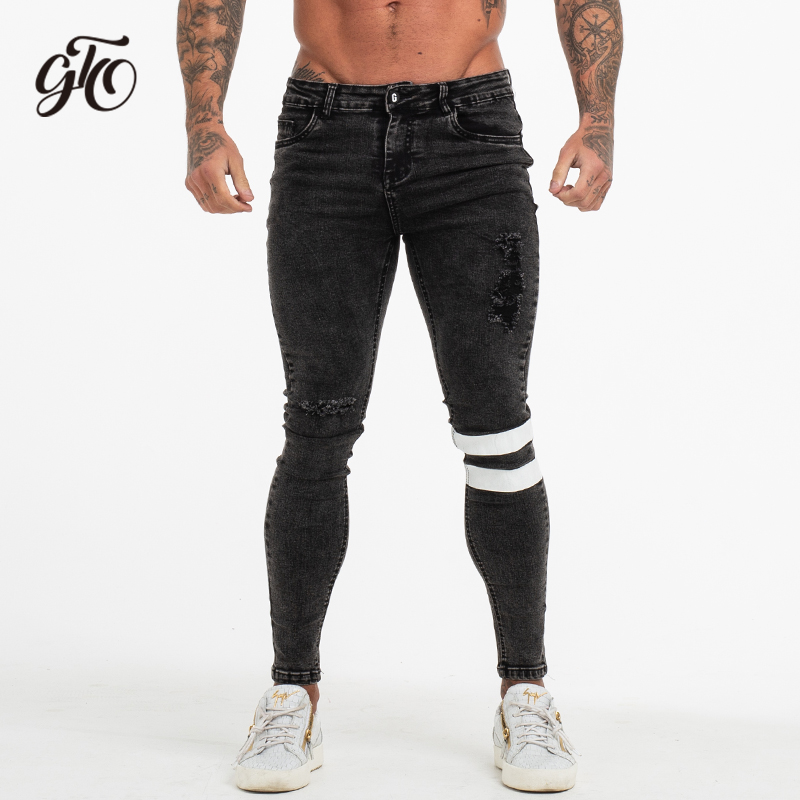 Gingtto Skinny   Jeans   For Men Pants Skinny Slim Fit Distressed Black Street Fashion Comfy Hip Hop Plus Size Super Spray on zm52