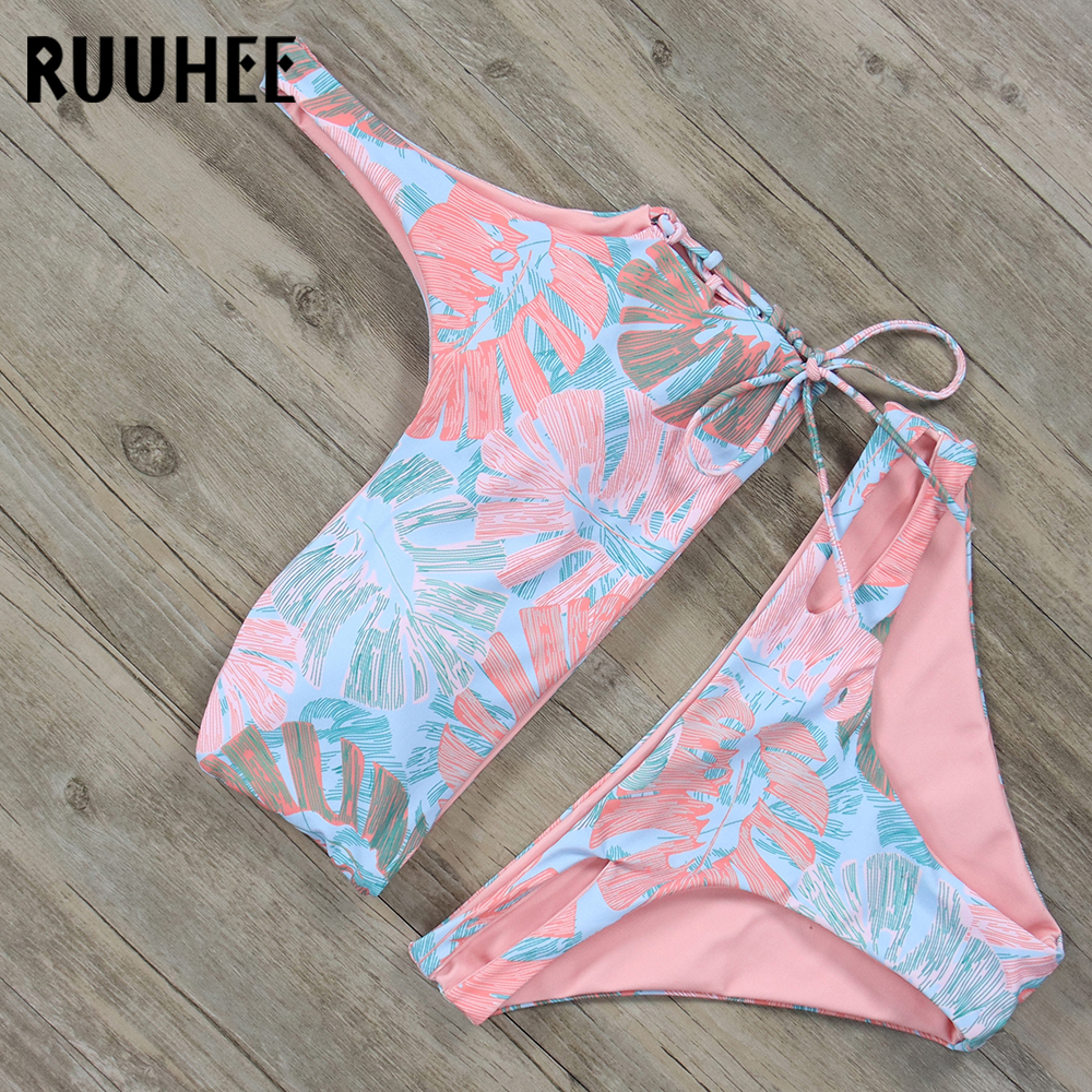 RUUHEE Bikini Set Swimwear Women One Shoulder Swimsuit Push Up 2018 Bikini Bathing Suit Female Beachwear Swimming Wear With Pad