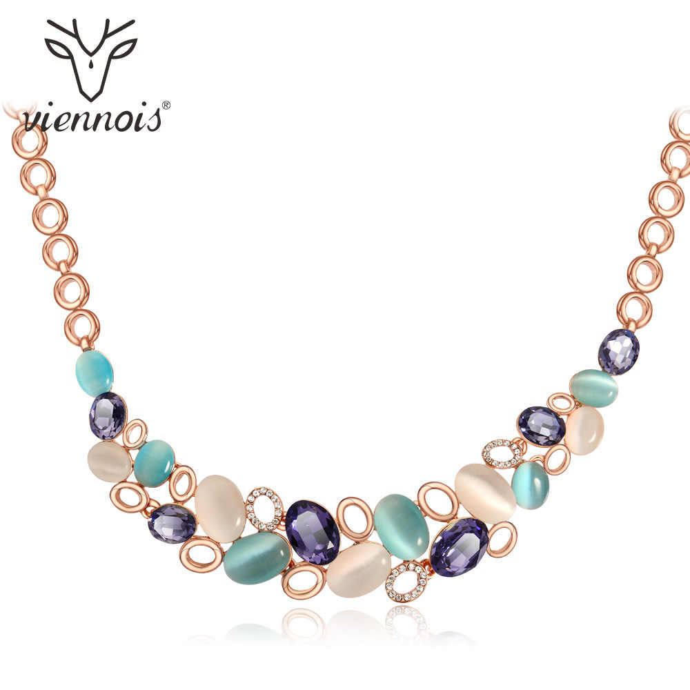 Viennois Rose Gold Geometric Golden Color Faux Opal Stone Chain Necklace For Women Lady Jewelry New accessories