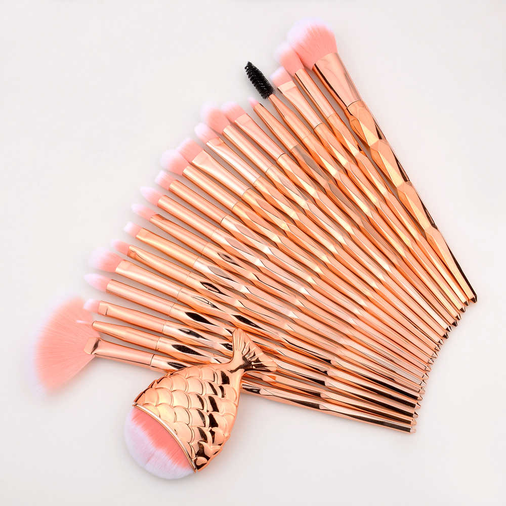 Field 21 Pcs Mermaid Eye Shadow Eyeliner Bulu Mata Makeup Brushes Set Kit Profesional Alis Kuas Kosmetik untuk Mata