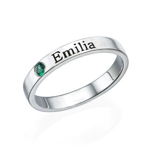 Unique anneau de nom de pierre de naissance personnalisé gravé anneau de nom pour cadeau d'anniversaire 925 en argent sterling cadeau de vacances femmes anneau hommes simple