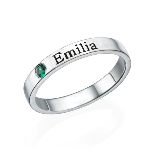 все цены на single birthstone name ring custom engraved name ring for birthday gift 925 sterling silver holiday gift women ring men simple