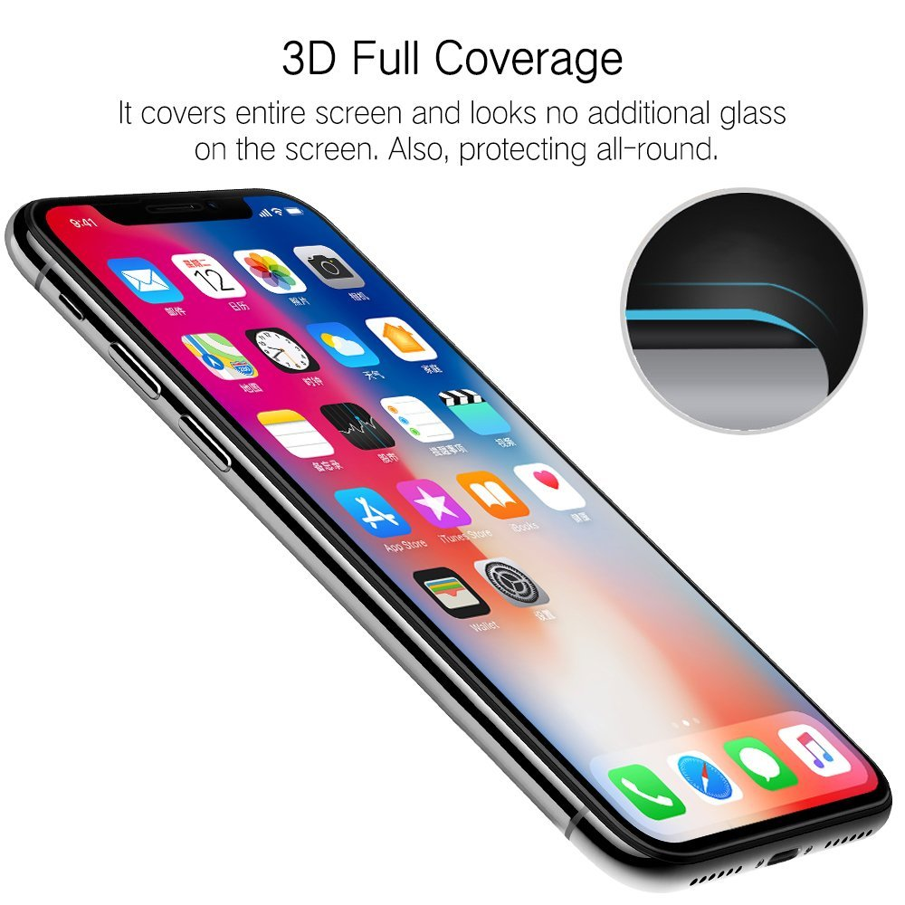 9D Curved Tempered Glass for font b iPhone b font XR xsmax X Glass Edge High