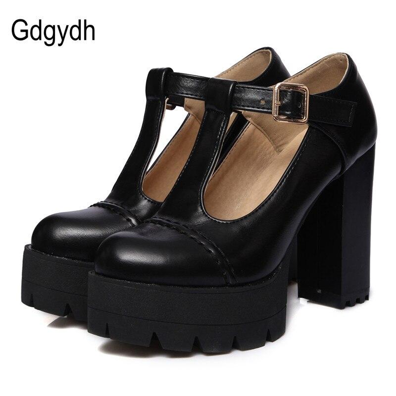 Gdgydh moda kadın pompaları yuvarlak ayak T-kayışı toka kadın tek ayakkabı kalın topuklu platformu kadın ayakkabı rus artı boyutu 43