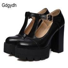 Gdgydh de moda de las mujeres del dedo del pie redondo T-Correa hebilla Mujer Zapatos de plataforma zapatos de mujer zapatos ruso de talla grande 43