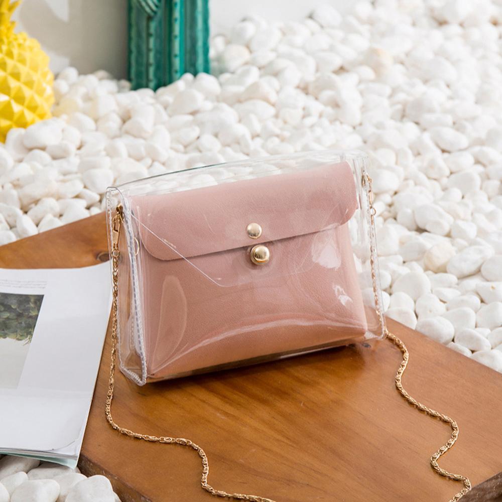 2 pièces mode Transparent propre chaîne bandoulière embrayage sacs à bandoulière pour femmes 2018 femmes filles Mini Messenger Sac à Main