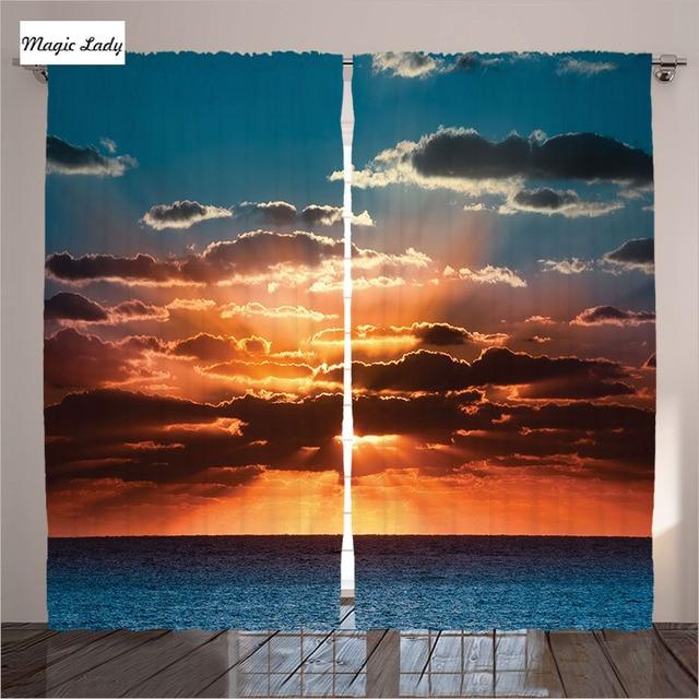Curtains Print Living Room Blue Bedroom Above Skies Clouds Sunrise Sunset Zenith Sunbeam Dark Art Decor