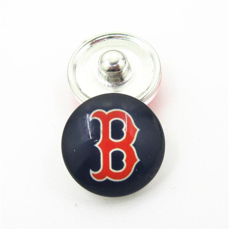 10pcs/lot Boston Red Sox Baseball Team Snap Button Charms DIY 18mm Baseball Sports Snaps Bracelets Necklace Jewelry