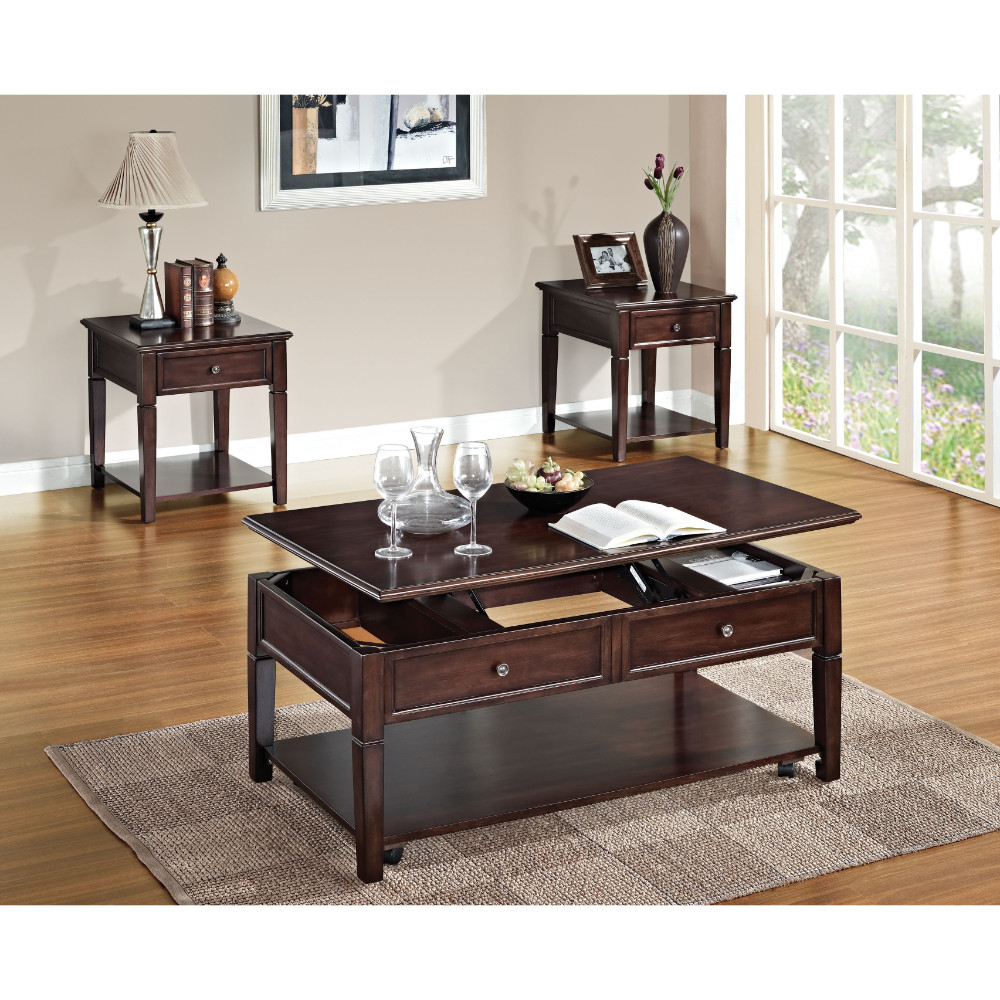Wooden Coffee Table with Lift Top, Walnut Brown пуф wooden круглый белый
