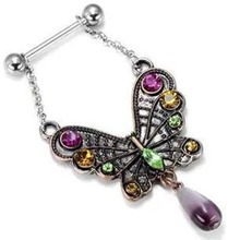 New Designed Zircon Nipple Antique Very Beautiful Colorful Butterfly Body Jewelry Nipple Piercing Wholesale