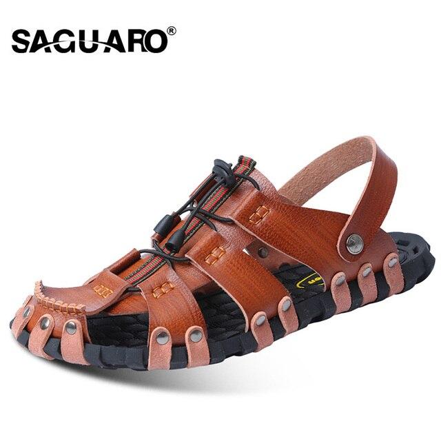 7df64fb88 SAGUARO Genuine Leather Men Sandals Fashion Gladiator Summer Beach Slippers  Slip On Flip Flops Men Zapatos Sandalias Hombre