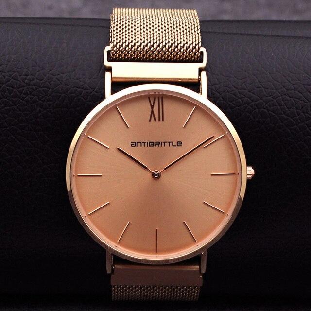 1d889f1a839c1d Japon Quartz marque de luxe femmes montre en or Rose hommes Ultra mince en  cuir en