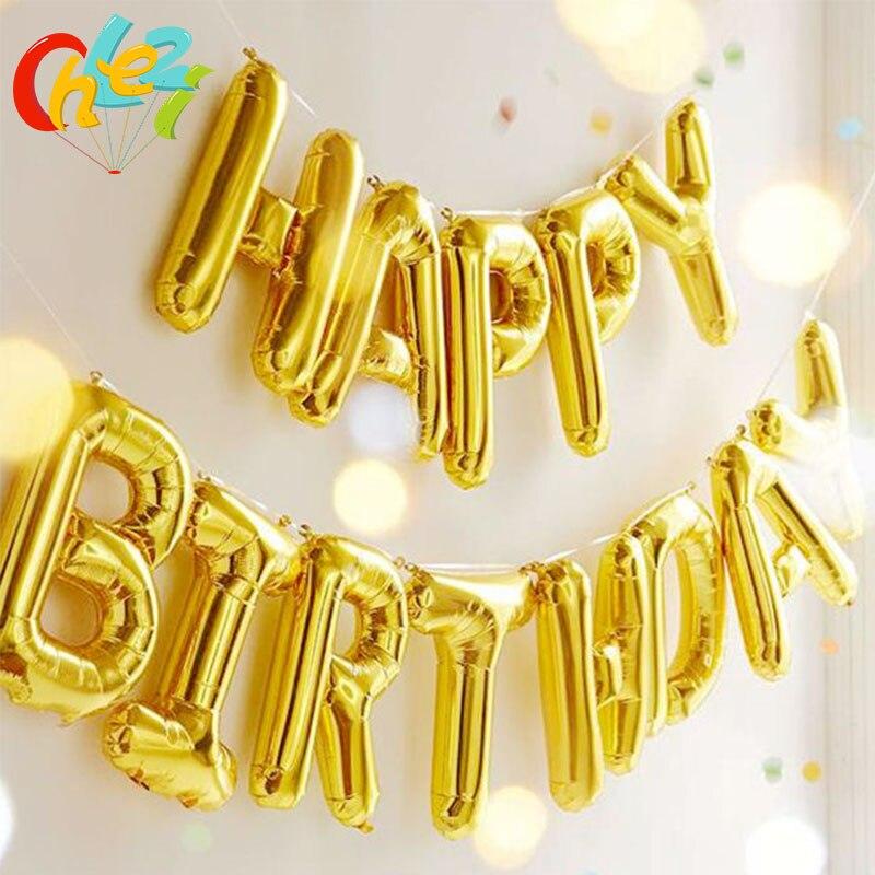 13 шт. с днем рождения воздушные шары золотого, серебряного цвета, розовый, синий, воздушные шары букв алфавита подвесной День рождения украш...