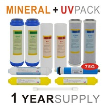 1 Year Supply Mineral Ultraviolet Reverse Osmosis System Replacement Filter Sets -11 Filters with UV Bulb and 75GPD RO Membrane