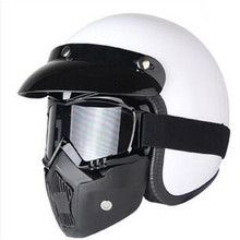 New Retro Vintage German Style Motorcycle Helmet 3/4 Open Face Helmet Scooter Chopper Cruiser Biker Moto Helmet Glasses Mask недорого
