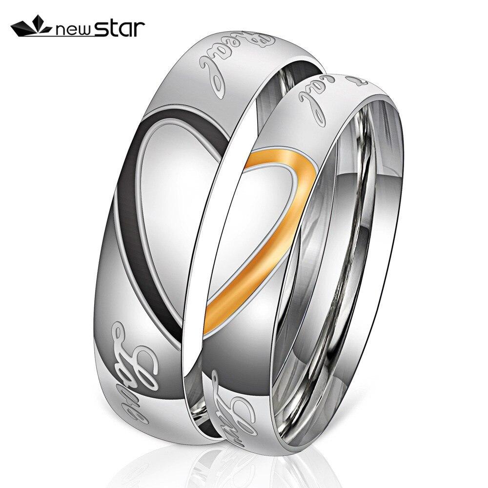 Engraved Love Couple Rings Stainless Steel Engagement Wedding Rings for Men Women
