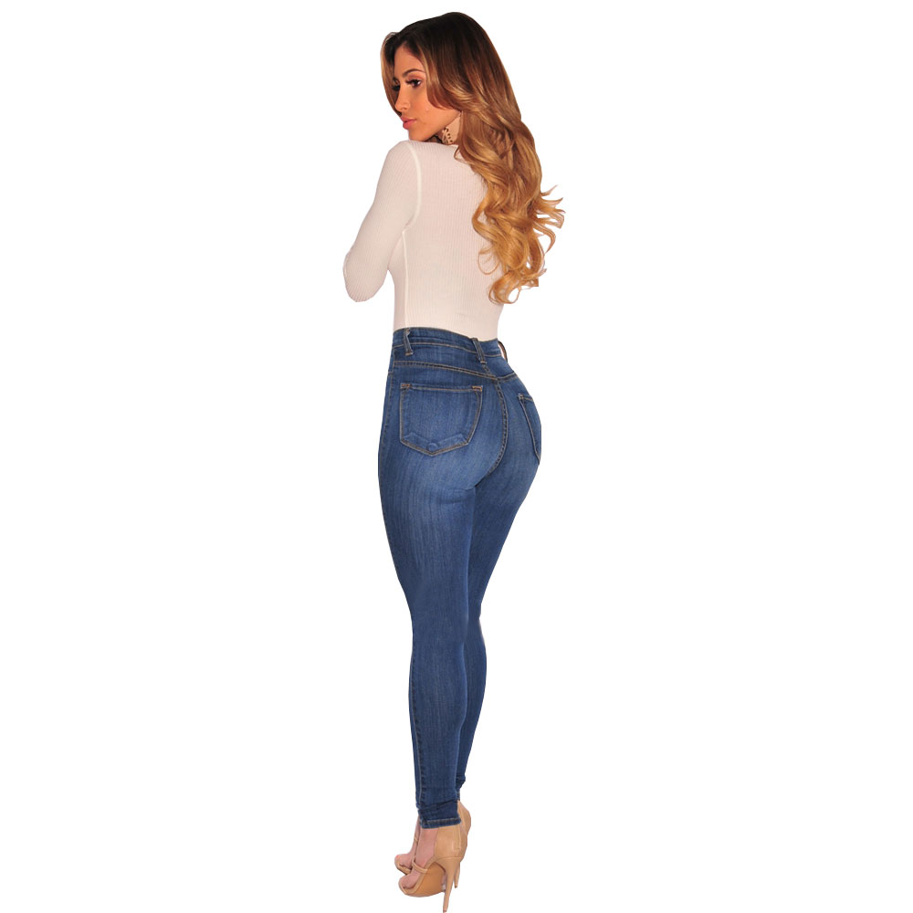 New High-Grade Ladies Size Cotton Tight Blue Pure Wild Jeans Button Breathable Sexy Stretch Feet Pants