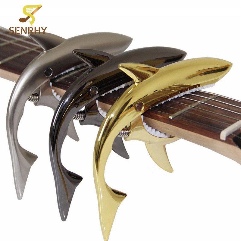 SENRHY Shark Zinc Alloy Spring Capo for Acoustic and Electric Guitar Gold Sliver Black with Good Hand Musical Instruments Parts shark capo for acoustic electric classical guitar zinc alloy musical instrument guitar accessories gc 30
