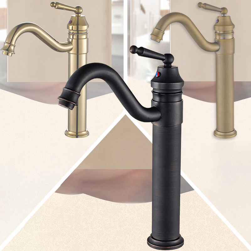 Luxury Vessel Vanity Faucet, Solid Brass, High Arc One Handle Bathroom Tap, Hot / Cold Water Mixer, Good for Hotel/Motel/Home