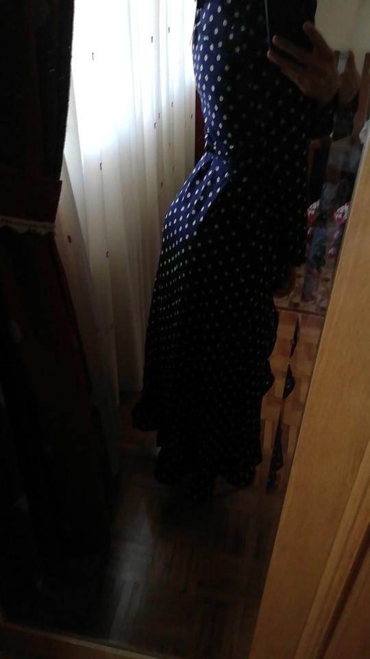 Polka Dot Ruffle Wrap Long Dress Women Split Long Sleeve Spring Casual Dress Streetwear Black Maxi Dress Vestidos photo review