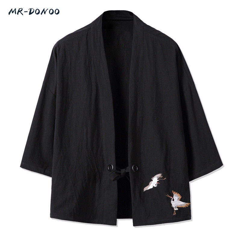 MR-DONOO MRDONOO Kimono style men's retro three quarter sleeve cotton linen