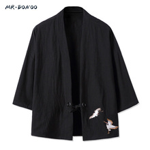 MRDONOO Kimono Chinese style mens retro three quarter sleeve cardigan jacket Han Chinese clothing loose large cotton linen top