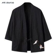 MRDONOO Kimono w stylu chińskim męska retro rękaw 3/4 sweter kurtka odzież typowa dla chińczyków han luźny duży bawełniany lniany top