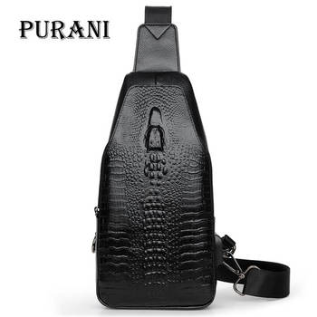 PURANI Vintage Crocodile Alligator Leather Bag Men Chest Pack Crossbody Bags Men Shoulder Messenger Sling Bag Travel Zipper Bags bullcaptain 019 genuine leather bag men chest pack travel brand design sling bag business shoulder crossbody bags for men