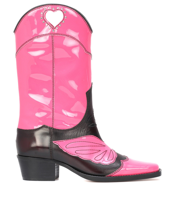 4302e4b584 2019 Botas Mujer Leather Colorblock Rubber Boots Women Low Square Heel Half  Motocycle Boots Mid-calf High Boots Cowboy Shoes