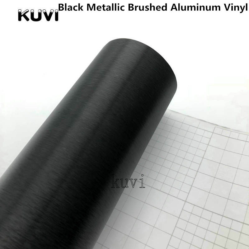 20cm/30cmx152cm Black Metallic Brushed Aluminum Vinyl Car Wrap Film Metal Brushed Film Car Wrapping Motorcycl Interior Stickers