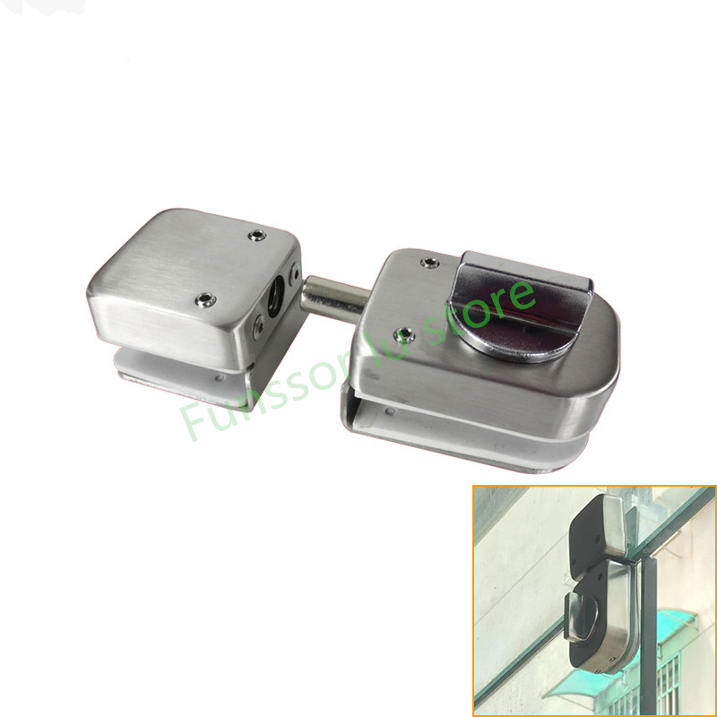 US $9 1 15% OFF|Stainless steel,Glass Door Latches Lock/bolt,138A ,Without  drilling,for Double/single glass door, Frameless glass door-in Locks from