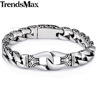 15mm Mens Womens Curb Cuban Chain Silver Tone 316L Stainless Steel Bracelet Curved Edge Wholesale Jewelry