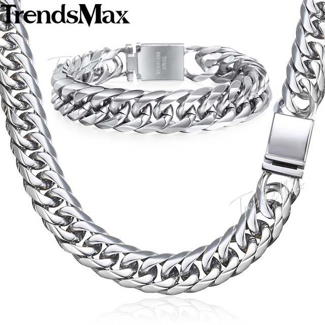 Trendsmax Hip Hop Iced Out Gepflasterte Strass Kubanischen Kette herren Halskette Armband 316L Edelstahl Gold Farbe 16mm KHSM04