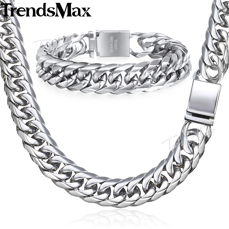 Trendsmax Hip Hop Iced Out Paved Rhinestones Cuban Chain Mens Necklace Bracelet 316L Stainless Steel Gold Silver 16mm KHSM04Trendsmax Hip Hop Iced Out Paved Rhinestones Cuban Chain Mens Necklace Bracelet 316L Stainless Steel Gold Silver 16mm KHSM04