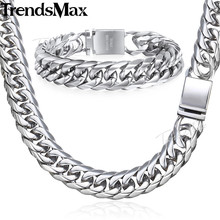 Trendsmax Hip Hop Iced Out Paved Rhinestones Cuban Chain Mens Necklace Bracelet 316L Stainless Steel Gold Color 16mm KHSM04