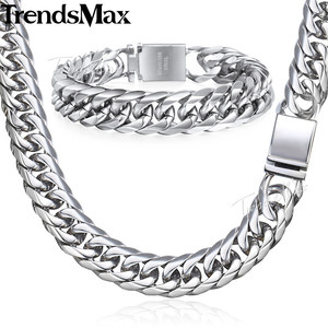 Image 1 - Trendsmax Hip Hop Iced Out Paved Rhinestones Cuban Chain Mens Necklace Bracelet 316L Stainless Steel Gold Color 16mm KHSM04