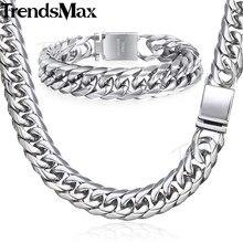 Trendsmax collar de cadena cubana con diamantes de imitación para hombre, pulsera de acero inoxidable 316L, Color dorado, 16mm, KHSM04