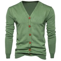 2017 New Fall Winter Men Long Sleeve Button Up Knitted Cardigan Men S Loose V Neck