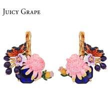 Купить с кэшбэком Juicy Grape Monet Garden Series Pink Flower Blue Crystal Fashion Jewelry Hand Painted Enamel Earrings For Women Jewellery