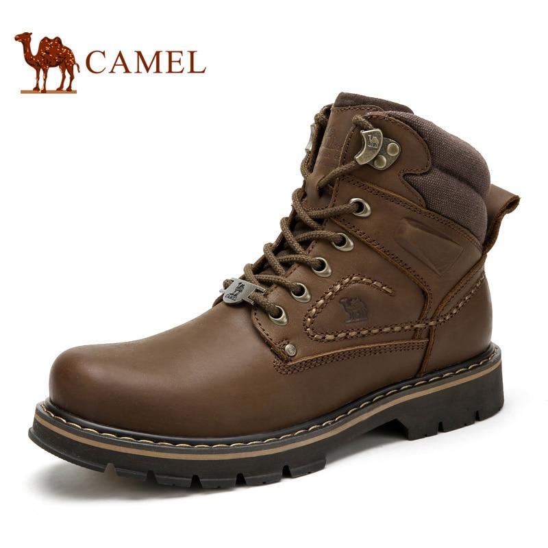 Sapatos de Inverno do Outono dos homens do CAMELO Qualidade Barcos Do Exército Ferramental Macho Militar Tático Botas de Borracha Sapatos de Trabalho de Couro Genuíno Homem