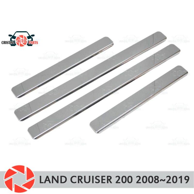 Soleiras de porta para Toyota Land Cruiser 200 2008 ~ 2019 passo placa interna scuff guarnição acessórios de proteção car styling decoração