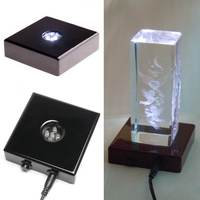 Portable Black 5 LED USB Night Light Lamp Base Stand Crystal Display Crafts Lamp Bases US