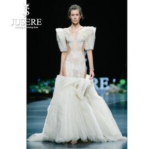Image 1 - JUSERE 2019 SS FASHION SHOW Sexy Illusion marfil sirena vestido de novia cuello pico manga larga Apliques de encaje Pleat vestidos de novia